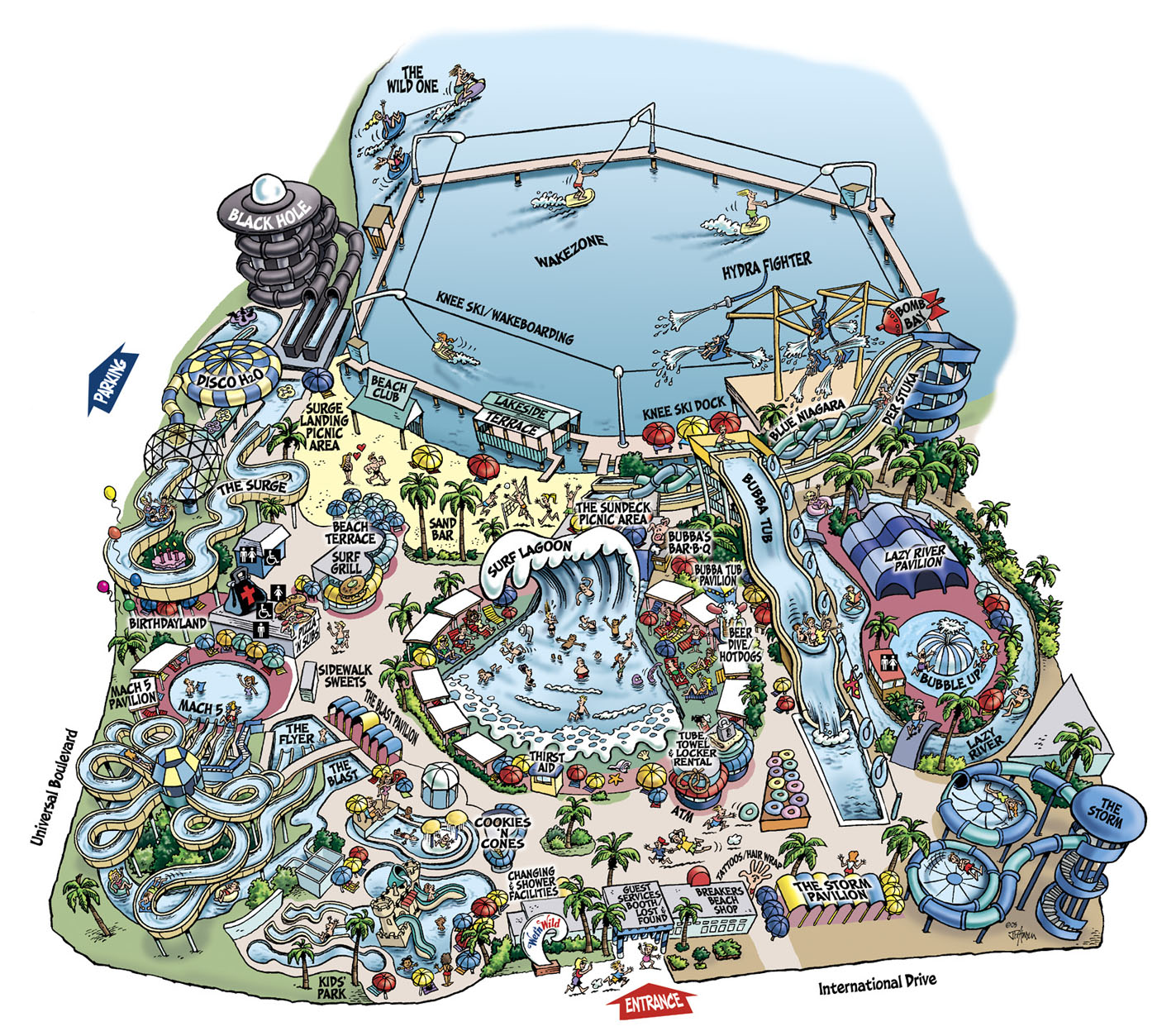 Map Of Wet N Wild Orlando Cartoon Maps