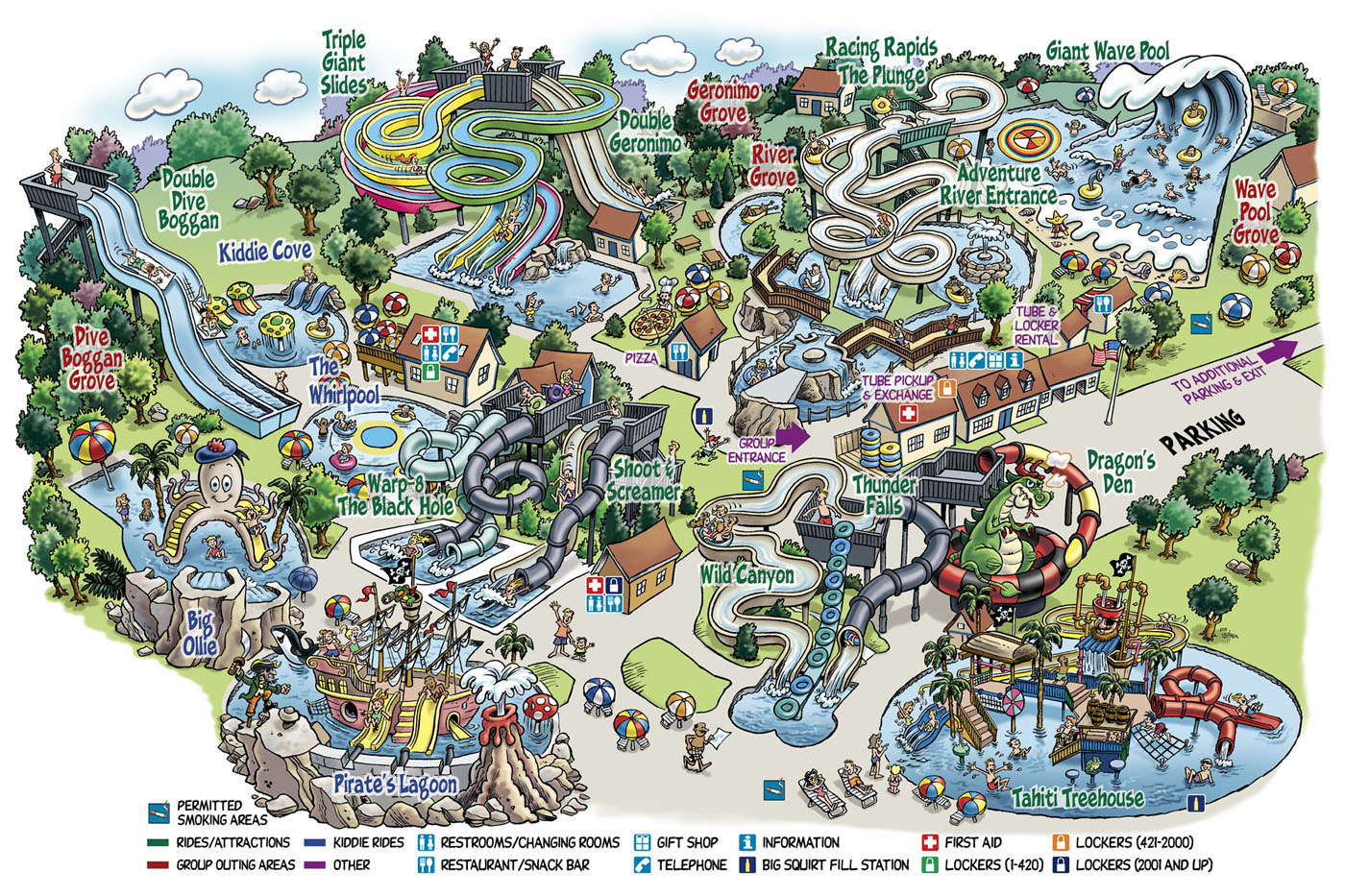 Water Country New Hampshire cartoon map